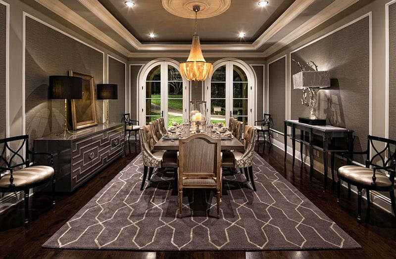 gray dining room,