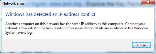 fix IP address conflict error,