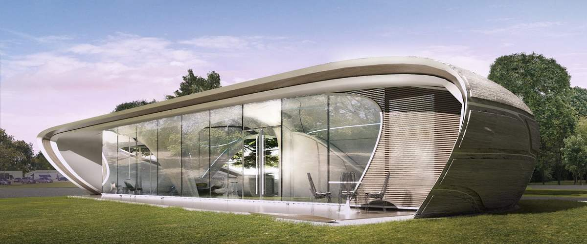 3d printed house, what is 3d printed house, 3d printed house technology, 3d printed house examples, branch technology, 3d printing material for house, how much time to take in 3d printing home, WATG 3d printed house design, curve form house design, complex form design for home, case study houses developed, are 3d printed houses safe, what is the process of 3d printing?