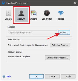 Change The Location of Dropbox Folder