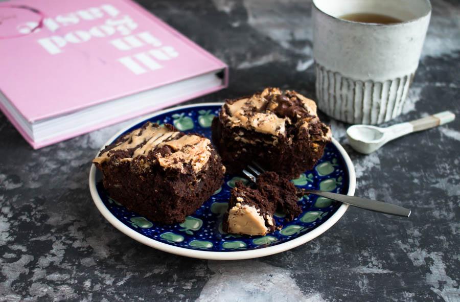 Vegane Schokoladen-Mandel Brownies selbst gemacht