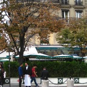 Les Deux Magots, diagonally opposite the St. Germain church.