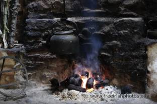Irish peat bricks in an outdoor fire. Source: freeirishphotos.com