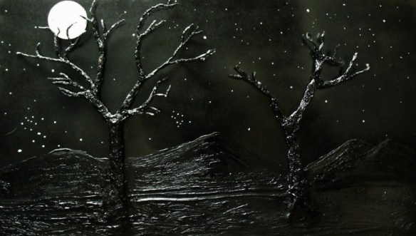 """Trees in Moonlight"" by Angela Stout on pixels.com. (Website link embedded within.)"
