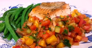 Salmon with mango salsa. Photo: my own.