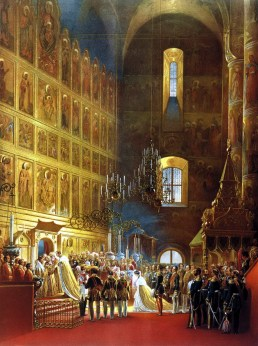 Chromolithography of Alexander II, coronation. Source: WikiCommons, commons.wikimedia.org