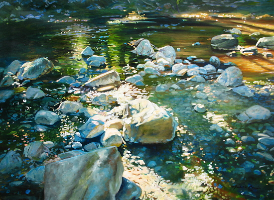 "Painting, ""Big Sur River rocks"" by Michelle Courier. Source: Raymar Art Contest."
