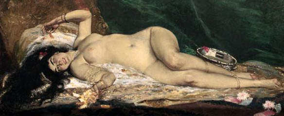 """""""An Odalisque"""" by Ferdinand Roybet (1840-1920) via devids.net."""