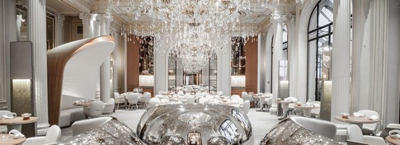 Alain Ducasse's restaurant at the Plaza Athénée, Paris. Photo source: luxatic.com