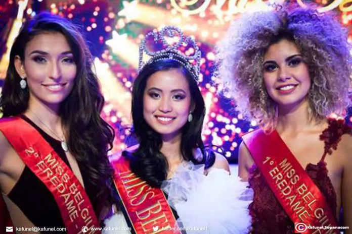 Dhenia Covens, 2e dauphine, Angeline Flor Pua, Miss Belgique, Zoe Brunet, 1e dauphine. © belga.
