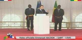 Discours du président français Emmanuel Macron à Saint Louis (Sénégal)