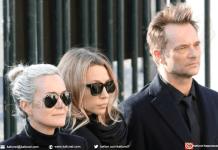 Laeticia Hallyday (à gauche), Laura Smet (au centre) et David Hallyday (à droite) lors des funérailles de Johnny Hallyday le 9 décembre 2017