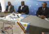 Felix Tshisekedi (centre), président de l'UDPS (opposition), donne une conférence de presse à Bruxelles le 18 mai 2018 | BELGA/AFP | NICOLAS MAETERLINCK