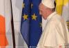 Le pape François s'exprimait devant les autorités politiques et civiles irlandaises peu après son arrivée dans le pays samedi.@ Tiziana FABI / AFP