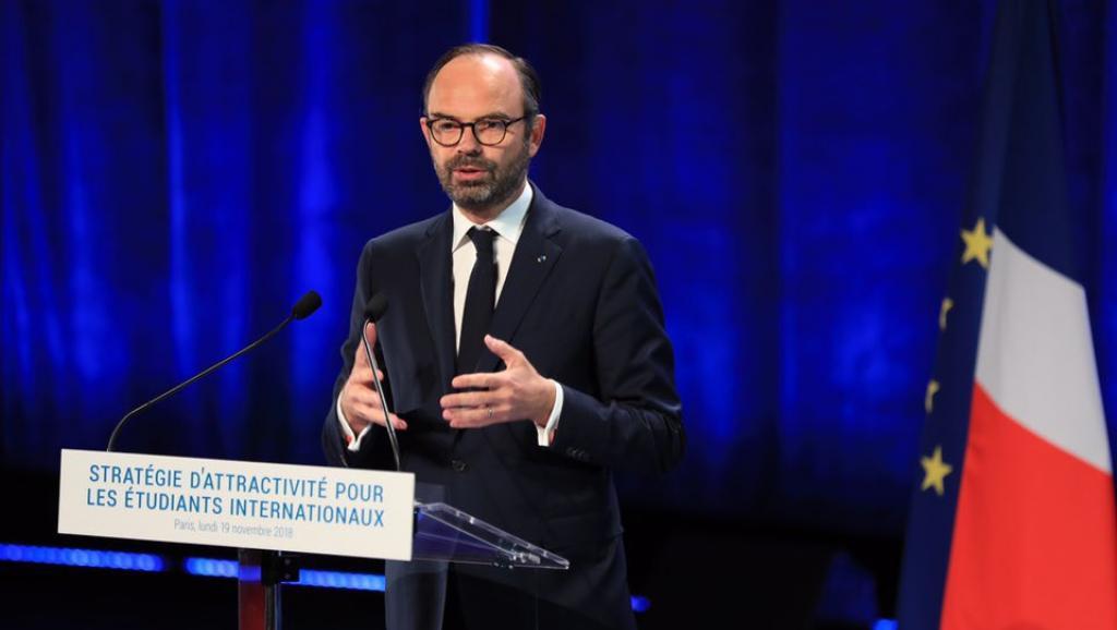 Le Premier ministre Edouard Philippe lors de la présentation du plan «Stratégie d'attractivité pour les étudiants internationaux» le 19 novembre 2018.