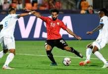 Mohamed Salah marquant le deuxième but de l'Égypte face à la RDC. Khaled Desouki/AFP