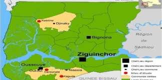 Carte de localisation des sites de l'étude Enquêtes et entretiens dans la région de Ziguinchor (anciennement appelée Basse Casamance)