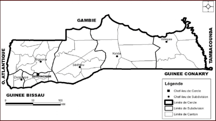 Carte 4 : Carte des divisions administratives de la Casamance de 1944 à 1958