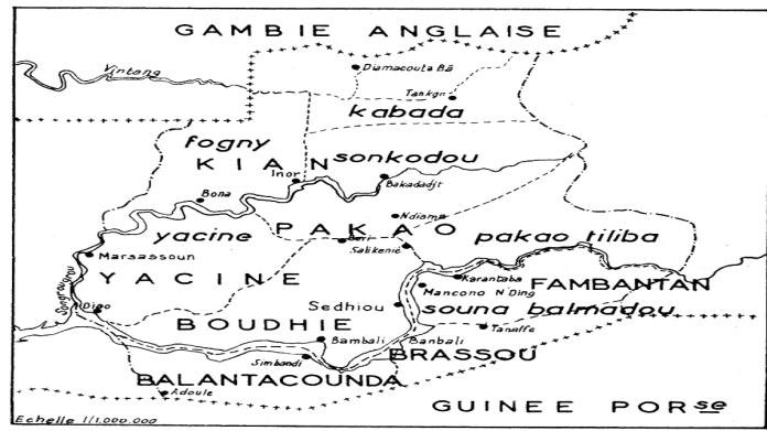 Fig. 2. — Les cantons de la Moyenne Casamance.