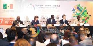 Conférence de presse présentant les orientations thématiques du Forum de Dakar 2019. © Forum international de Dakar