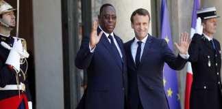 Le président sénégalais Macky Sall et son homologue français Emmanuel Macron, à l'Élysée le 15 mai 2019. © Francois Mori/AP/SIPA