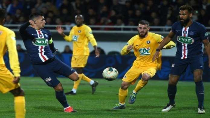 Les joueurs d'Epinal explosent de joie après leur 2e but contre Lille, celui de la qualif en quarts de la Coupe de France, le 29 janvier 2020 à La Colombière