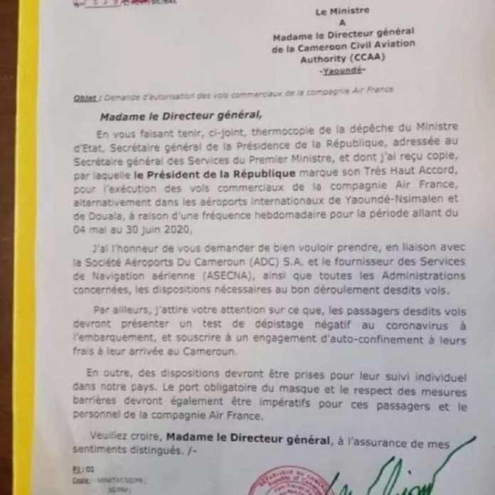 La lettre du ministre camerounais des Transports © Ministère des Transports