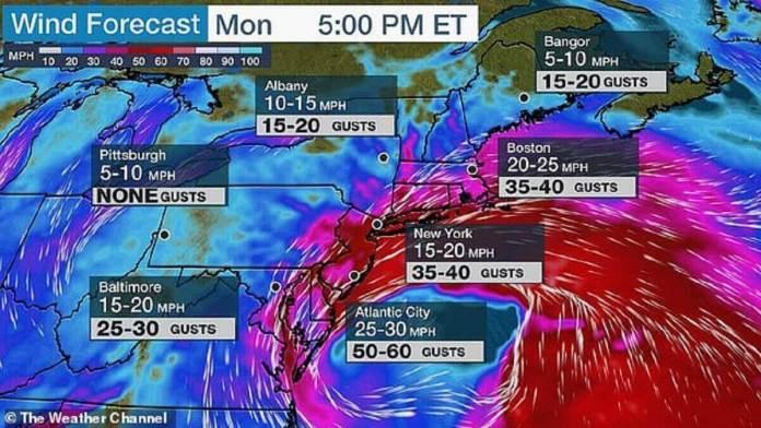 Des vents forts devraient accompagner le Nor'easter. Des rafales allant jusqu'à 40 mph sont attendues à New York lundi