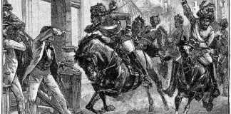 Une gravure publiée en 1895 représentant des Sepoys rebelles montés chargeant dans les rues de Delhi au début de la mutinerie indienne