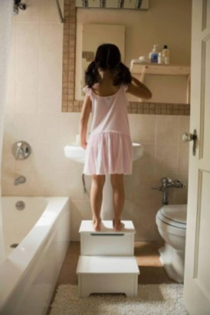 2.On rabat le couvercle des toilettes