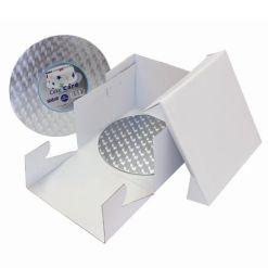 Kageboks med rundt kageplade 35x35x15 cm - PME