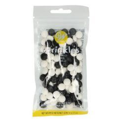 Fodbold kagepynt - Hvid og sorte sprinkles - 56g
