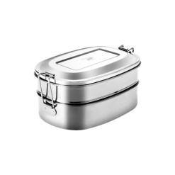 Pulito madkasse - PureLunchBox Oval 2-i-1 i rustfrit stål