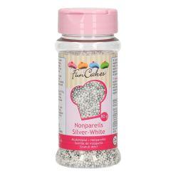 Sukkerperler Sølv-Hvid, 80 g - FunCakes