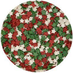 Krymmel Stjernemix, Grøn/Hvid/Rød, 60 g - FunCakes