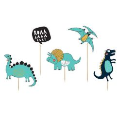 Cake Topper Dinosaur Tema 5 stk. - PartyDeco