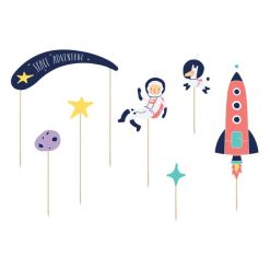 Cake Topper Space Tema 7 stk. - PartyDeco