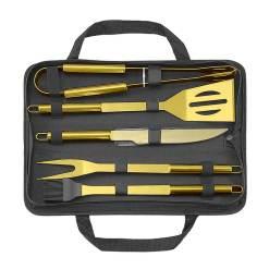 Guld grillsæt / BBQ værktøj, 5 dele - Mikamax