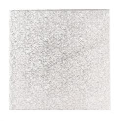Sølv kagepap 25 cm – Firkantet
