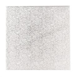 Sølv kagepap 45 cm – Firkantet