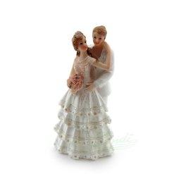 Topfigur til bryllupskage, brudepar kvinder 13,3cm