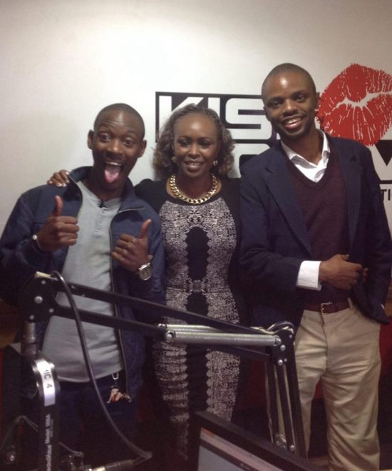 Ghafla's Majani and Uncle Chim Tuna with Caroline Mutoko after breakfast show