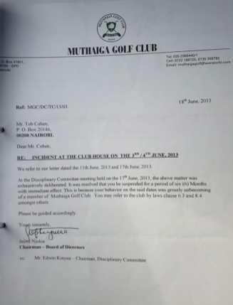 Tob-Cohen-Letter-of-Suspension-from-Muthaiga-Golf-Club