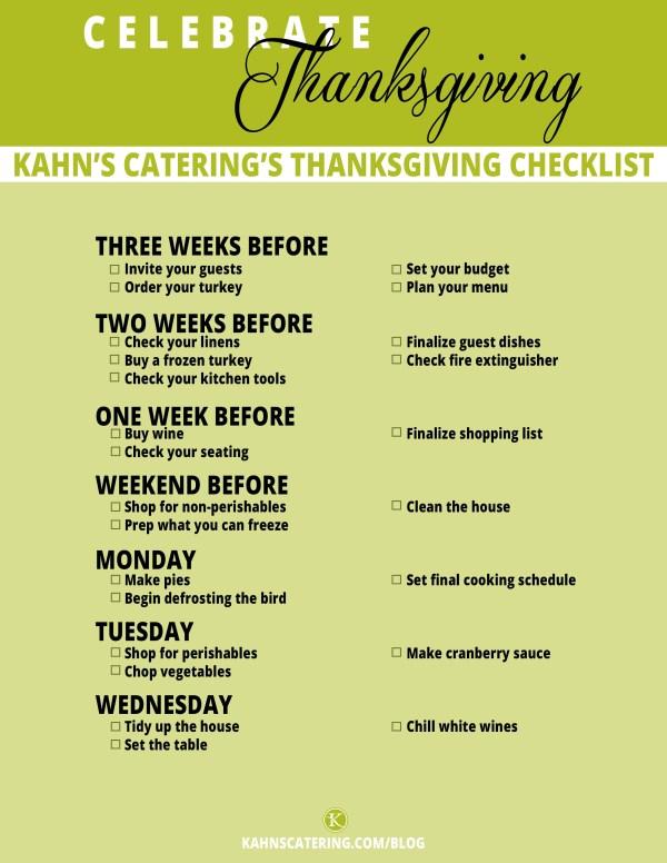 Thanksgiving Planning Checklist
