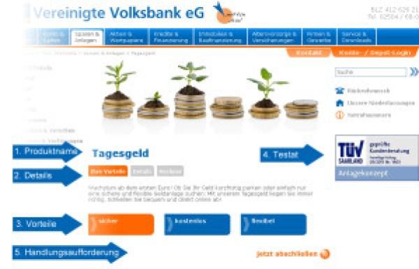 """Die Seite zeigt das Produkt """"Tagesgeld"""" der Vereinigten Volksbank eG, Telgte."""