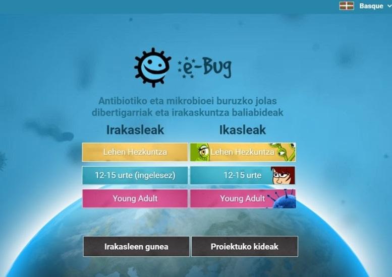 e-Bug proiektua: higiene-ohiturak, antibiotikoak eta txertoak lantzeko baliabidea