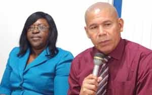 Public Health Minister Dr. George Norton with Minister within the Ministry Dr. Karen Cummings during the media interaction