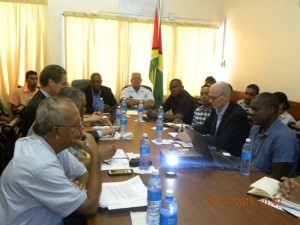 Minister of Public Infrastructure, David Patterson (centre, left) during the meeting with the Dutch Risk Reduction (DRR) Team and local engineers. Present also is Minister of Agriculture, Noel Holder.