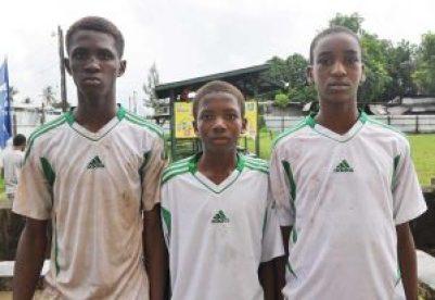 Kuru Kururu Warriors scorers from right, Jonathan Bailet, Shamar Gillis and Laren Matthews.