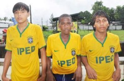 Yarrowkabra Jaguars goal scorers from right, Mellon Joseph, Desmond Chester and Michael Williams.